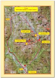 Карта-схема маршрута к высокогорным озерам Элкевая