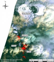 Спутниковый снимок активности вулкана Толбачик на Камчатке