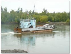 Паромная переправа через реку Камчатка в село Лазо