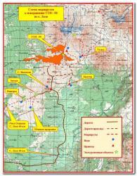 Схема маршрутов к вулкану Толбачик на полуострове Камчатка