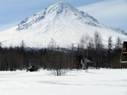 Камчатка, вулкан Кизимен, вид с Тумрокских ключей. Справа видна фумарольная активность вулкана