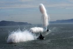 Генеральная репетиция парада в День военно-морского флота. Учебные стрельбы в акватории Авачинской бухты