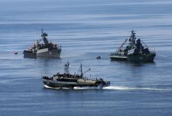 Торпедолов объезжает строй военных кораблей в Авачинской бухте в День Военно-морского флота