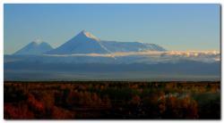 Фотография Ключевской группы вулканов на Камчатке