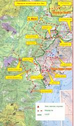 Схема маршрутов на снегоходах из поселка Лазо (Мильковский район)