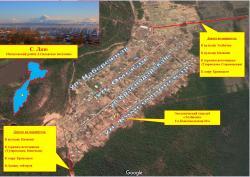 Схема села Лазо и выезда на туристские маршруты по Камчатке
