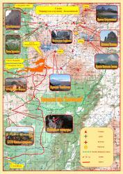 Схема туристических маршрутов к вулкану Безымянный на Камчатке