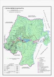 Схематическая карта распределения лесов по лесорастительным зонам и лесным районам Ключевского лесничества