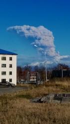 Камчатка, вулкан Шивелуч, вид из поселка Ключи