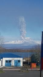 Вулкан Шивелуч, вид из поселка Ключи Камчатского края